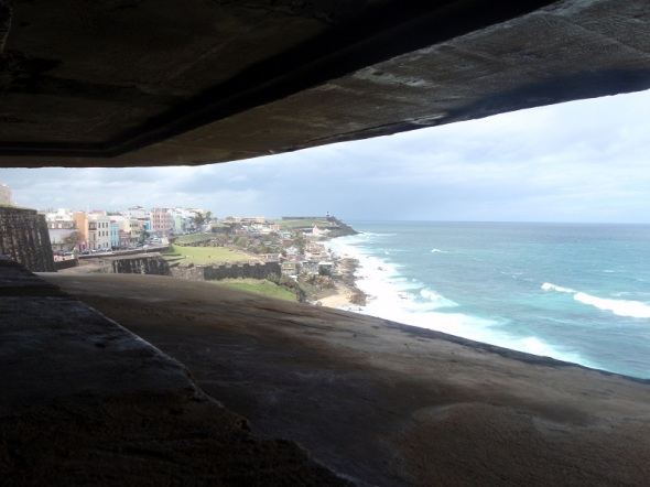 Looking from the look out to the north fort Castillo San Felipe Del Morro and the coast between.