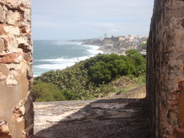 Looking south from the north fort Felipe del Morro to the city of San Juan.