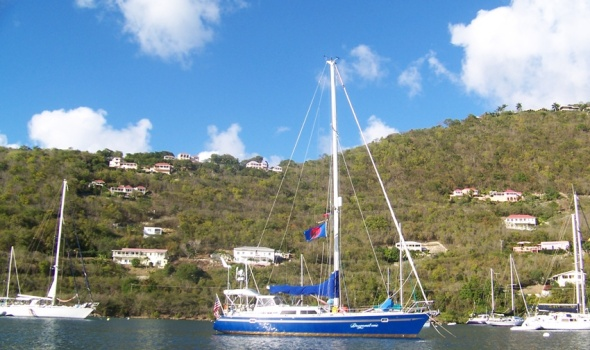 Dragonsbane on a mooring  in Soper's Hole Tortola