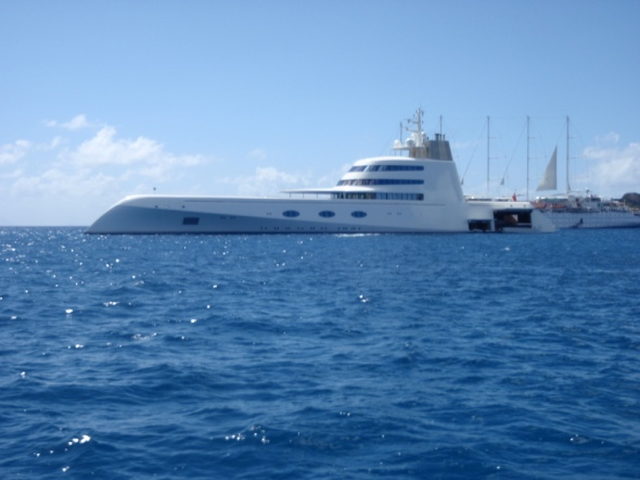 Sci-Fi Yacht in St. Bart we anchored right in front of her.