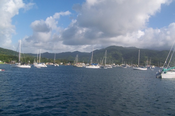 Just anchored in the bay off of Dominica Island