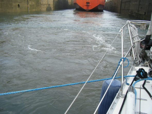 The water rushing into the locks to raise us up to the next lock of 3