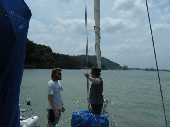 Jacques and Adam talking about something important as we motored through the lake !
