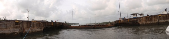 The lock has finished filling and I am now 50 feet higher looking out over the Caribbean  Sea