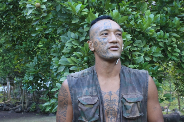 If you can recall to my blog of the 3rd worlds largest waterfall  in Nuka Hiva, I talked about the man I meet in the jungle there. Well this is him and he was I think a little touched in the head but I really like the guy. He was very nice! The Photo was given to me by our good friends from Compass Rosy