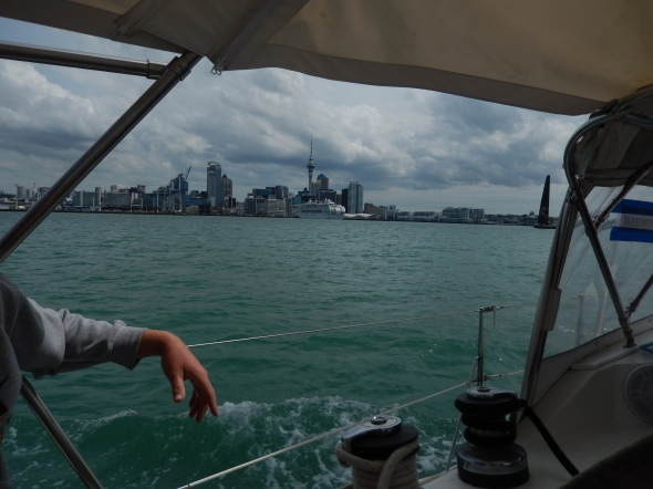 Sailing into Auckland Harbor