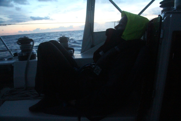 After three days of sailing due south it got very cold and the crew got worn out pounding through the swells, but we average 7 knots.