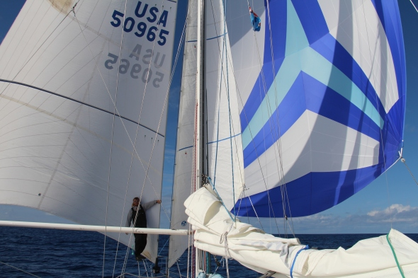 The last three days we had only 8 knots of wind so we put every sail that I could Drift on the port, Spinnaker on the Starboard, Staysail, and Trysail. We stayed at 5 to 6 knots with all this sail up, it was tons of fun.