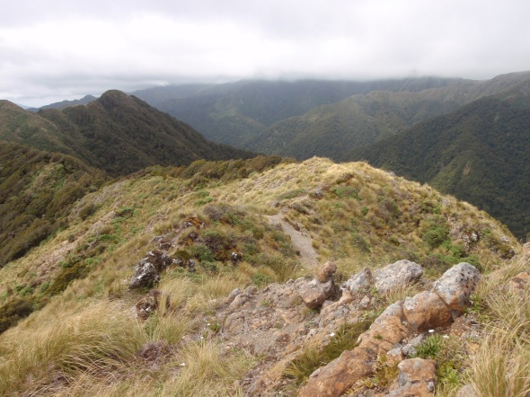 Looking back down the moutain after a 5 hour hike/climb from the valley to the start of the range ridge line.