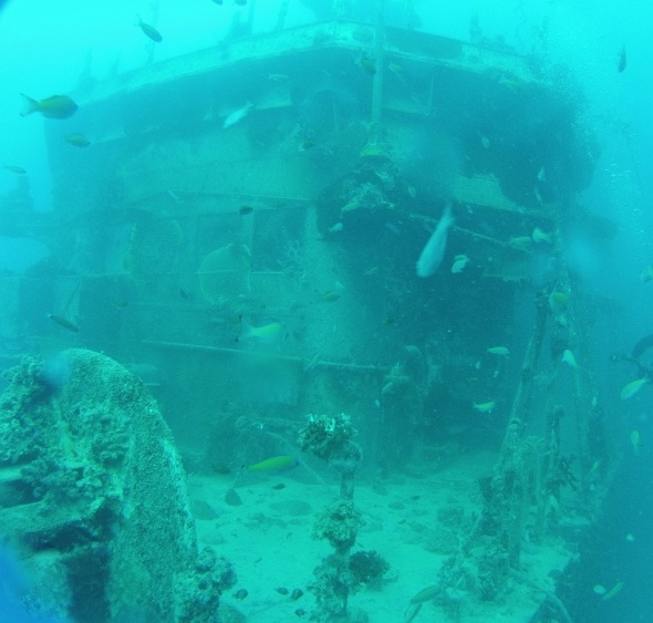 Ok so now on another dive that same day we dove on on this 200 foot processing fish boat that was sunk by the French Navy, I guess the French Navy get bored and blows stuff up!