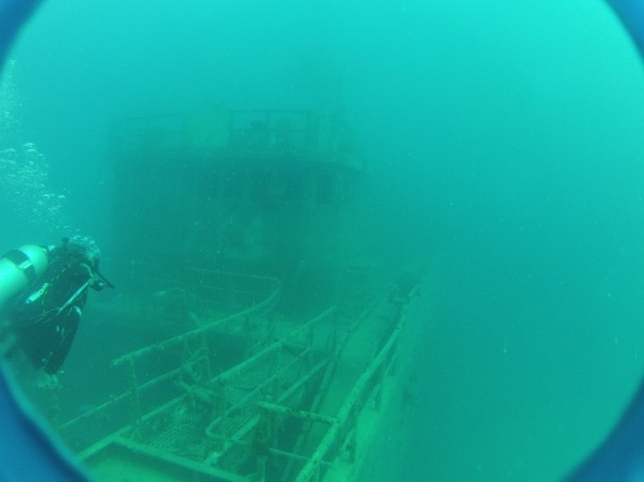Looking over the deck at 50 feet. This was a bit more shallow of a dive and very comfortable.
