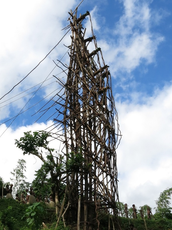 The Tower is roughly 35 meters high. Constructed out of trees and lashed together with vines.