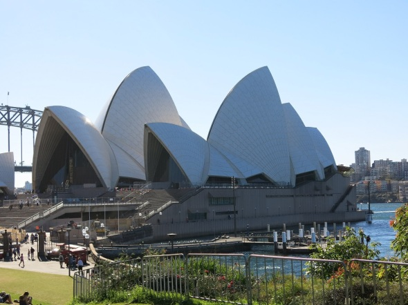 Sydney Opera house, touched the white tiles that make up the roof. Bucket list checked off!