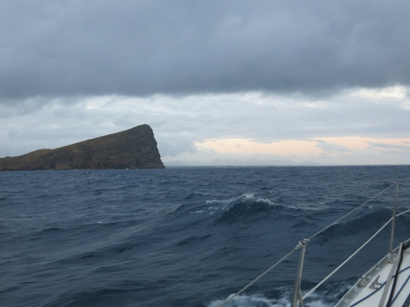 Sailing past Gunner Island just north of Mauritius. The sun was just coming up as we passed between the Islands and was navigating our way down the coast to Port Luis.