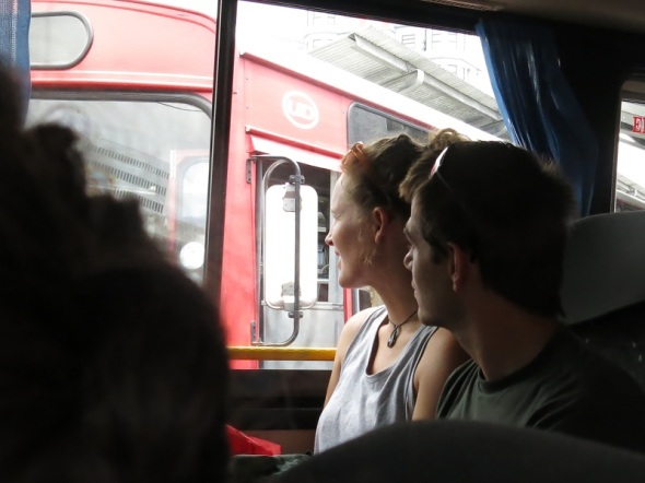 Jade and Ben watching the world go by in Port Louis as we bus a half hour to the second highest peak in Mauritius.