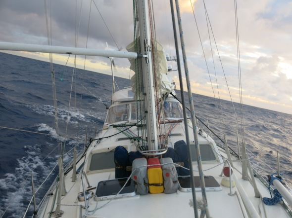 Still a bit rolly as we round the bottom of Reunion Island.